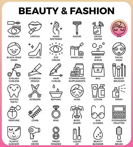 Conjunto de ícones de beleza e moda vetor