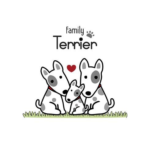 Mãe do cão da família de cão de Terrier e bebê recém-nascido. vetor