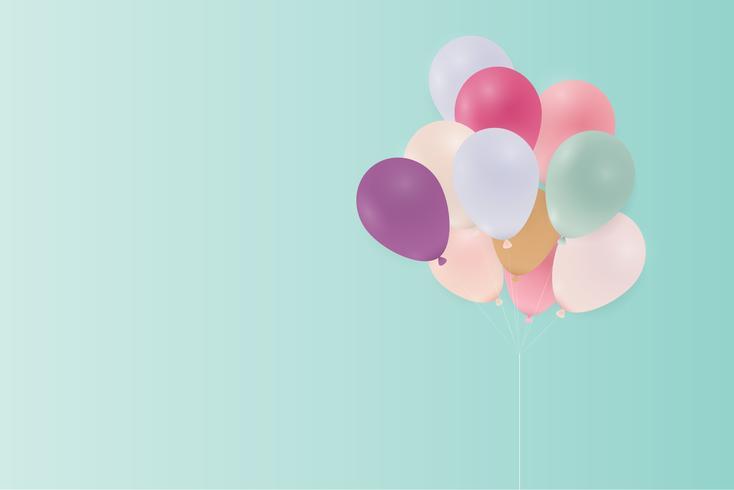 Cartão de aniversário com balões pastel. Ilustração vetorial vetor