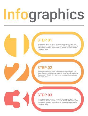 Diagrama de infografia com 3 etapas, opções ou processos. Modelo de negócio de vetor para apresentação. visualização de dados de negócios.