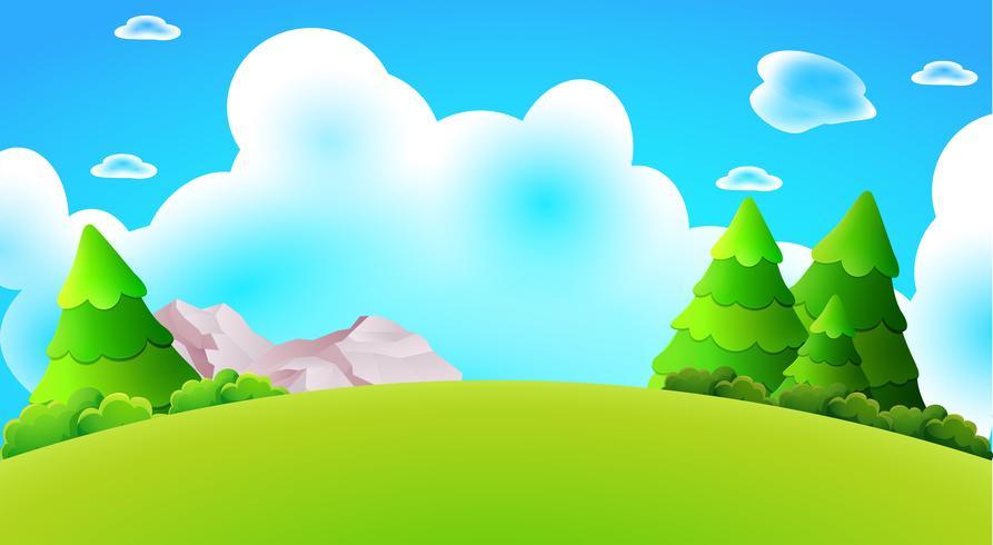 Desenhos animados floresta colina paisagem vector natureza fundo ilustração