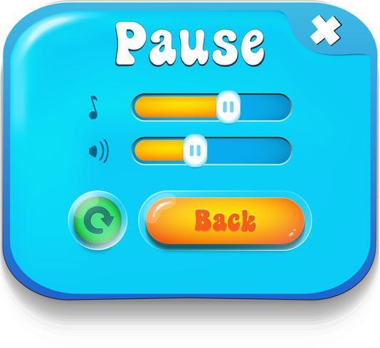 Cena do menu de pausa aparece com música e botões de som vetor