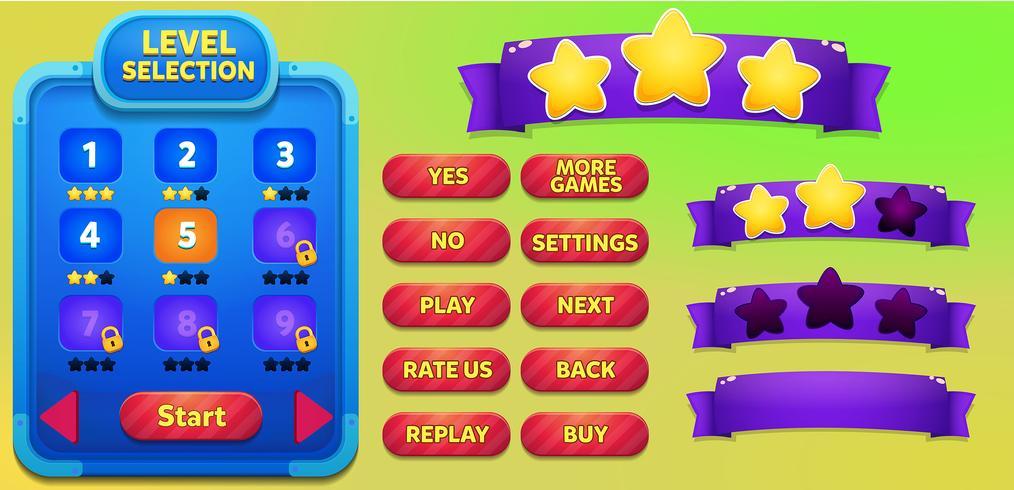Cena de menu de jogo de seleção de nível com botões, barra de carregamento e estrelas vetor