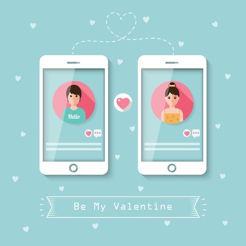 Namoro online via rede social. vetor