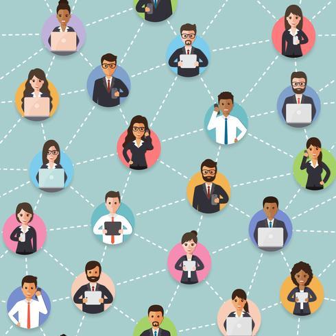 Conectado pessoas de negócios sem costura padrão. vetor