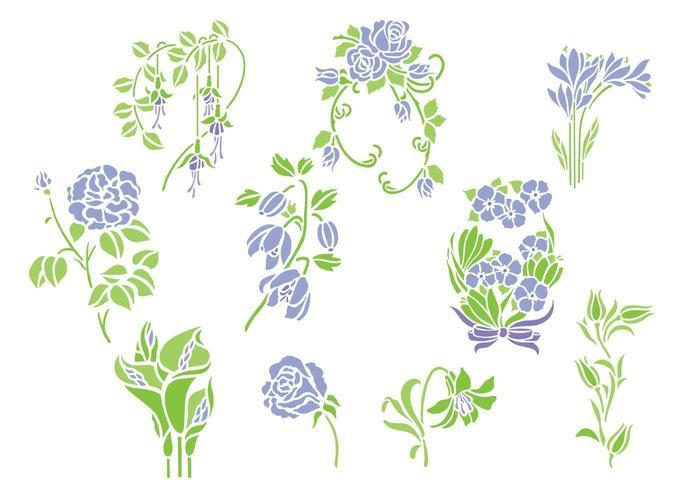 Pacote de vetores de flores violeta