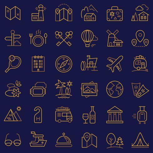 Conjunto de ícones de viagens. vetor