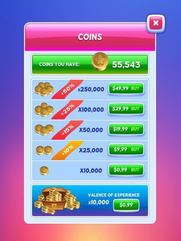 UI do jogo. Tela do banco de moeda virtual. vetor