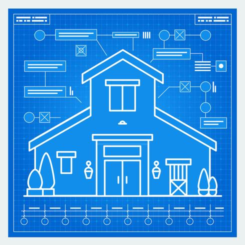 Casa, blueprint vetor