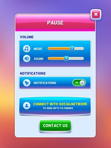 UI do jogo. Tela do menu de pausa vetor