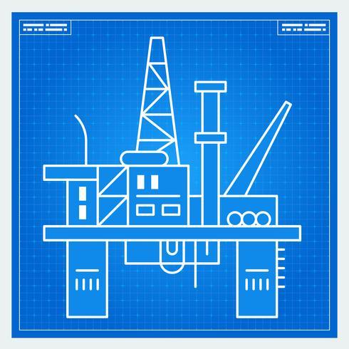 Esquema de projeto de plataforma de plataforma de petróleo vetor