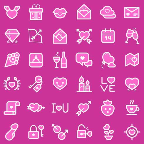 Conjunto de ícones de dia dos namorados vetor