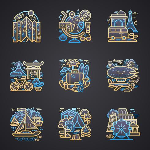Viajar ícones detalhados vetor