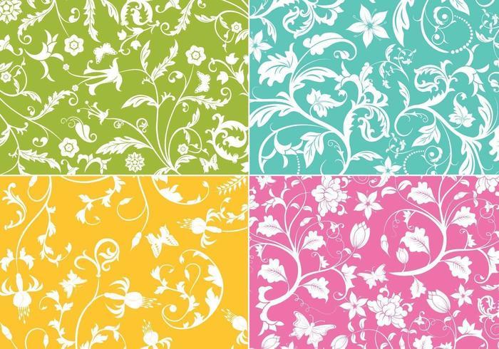 Pacote de papel de parede floral redemoinho vector