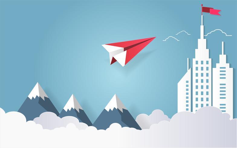 Conceito da liderança, voo vermelho do avião no céu com a nuvem sobre a montanha e construção arquitetónica com uma bandeira na parte superior. vetor
