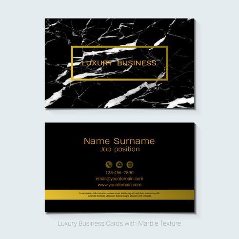 Cartões de visita de luxo vector modelo, Banner e capa com textura de mármore e detalhes de folha de ouro.