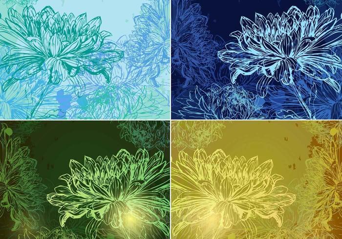 Pacote de fundo Vector Floral brilhante