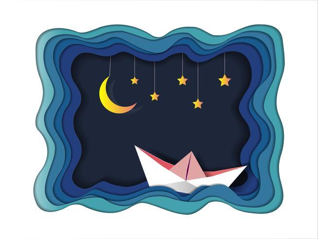 Barco está navegando no mar sob a luz da lua e estrelas, boa noite e conceito de origami móvel sonho doce. vetor