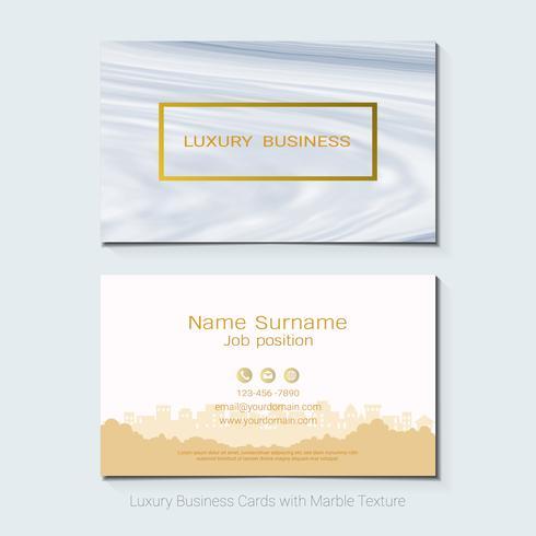 Cartões de visita de luxo vetor modelo, Banner e capa com textura de mármore e detalhes de folha de ouro sobre fundo branco.
