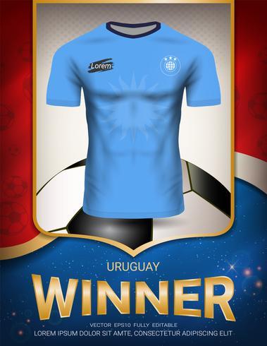 Copa de futebol 2018, conceito de vencedor do Uruguai. vetor