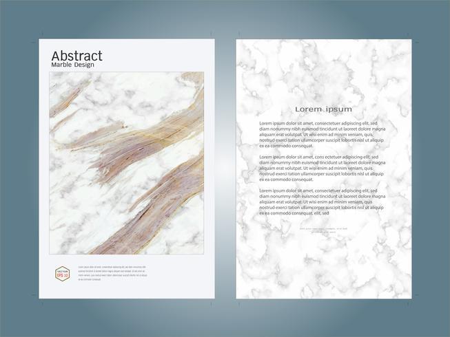Cubra a textura de mármore branca do molde da disposição de projeto do livro. vetor