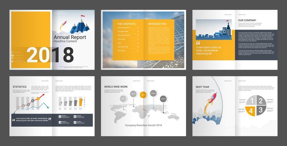 Relatório anual de perfil da empresa e folheto da agência de publicidade. vetor