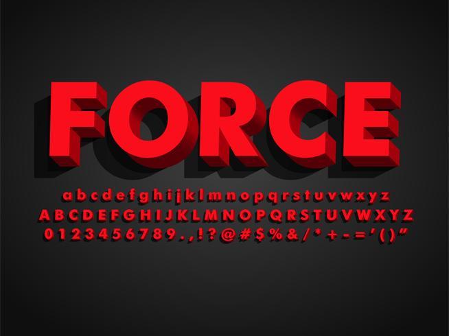 Fonte de negrito forte moderno retro 3d vermelho Typeface vetor