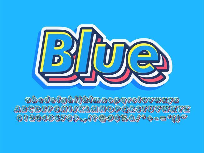 Caráter de tipo de letra em camadas legal azul vetor