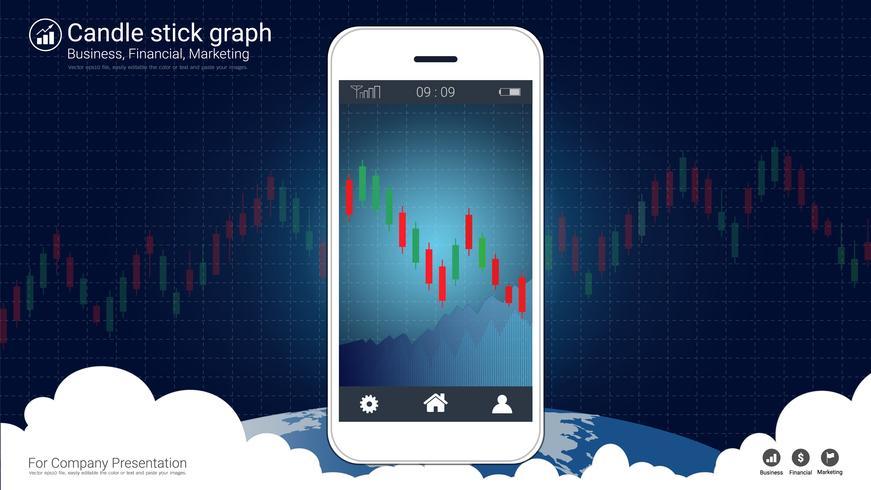 Conceito de negociação de ações móveis com gráficos de gráficos candlestick e financeiros na tela. vetor
