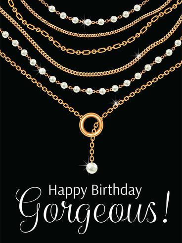 Feliz aniversário linda. Design de cartão com peras e correntes colar metálico dourado. Em preto vetor
