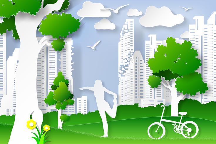 Dia do meio ambiente com estilo de artesanato digital de arte de postura de ioga senhora. vetor