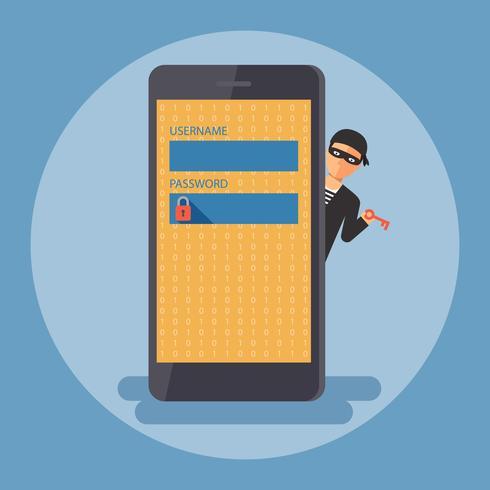 Segurança cibernética e conceito de crime. vetor