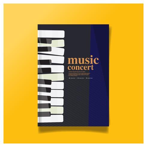 Design de brochura conceito de concerto de música, capa Layout moderno, relatório anual, Flyer em Design de capa de folheto cartaz panfleto A4. vetor