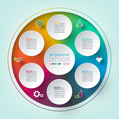 Seis círculos com infográficos de ícone de negócios. vetor