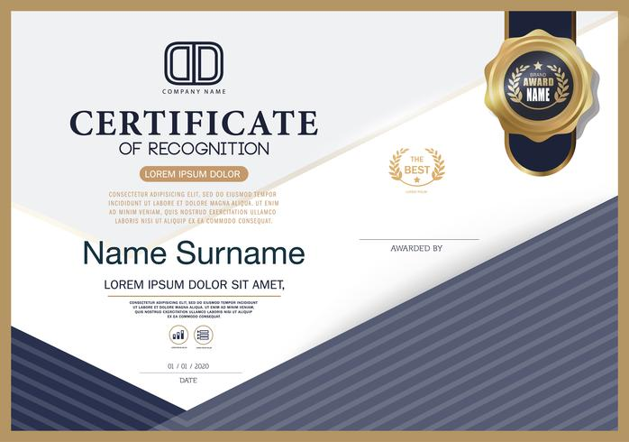 Certificado de reconhecimento modelo de layout de modelo de design de moldura em tamanho A4 vetor