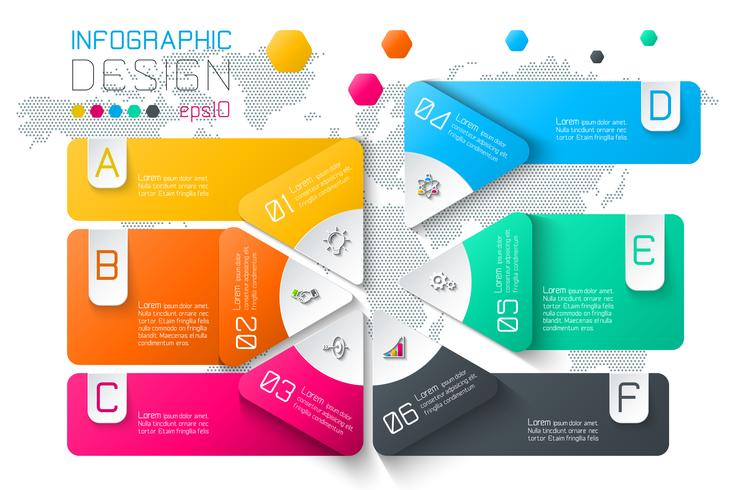 Negócios rótulos infográfico na barra de círculos de duas camadas. vetor