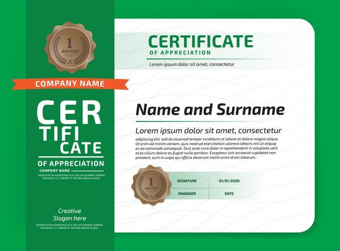 Certificado De Agradecimento Prêmio Template. Certificado de ilustração em padrão de tamanho A4 vetor