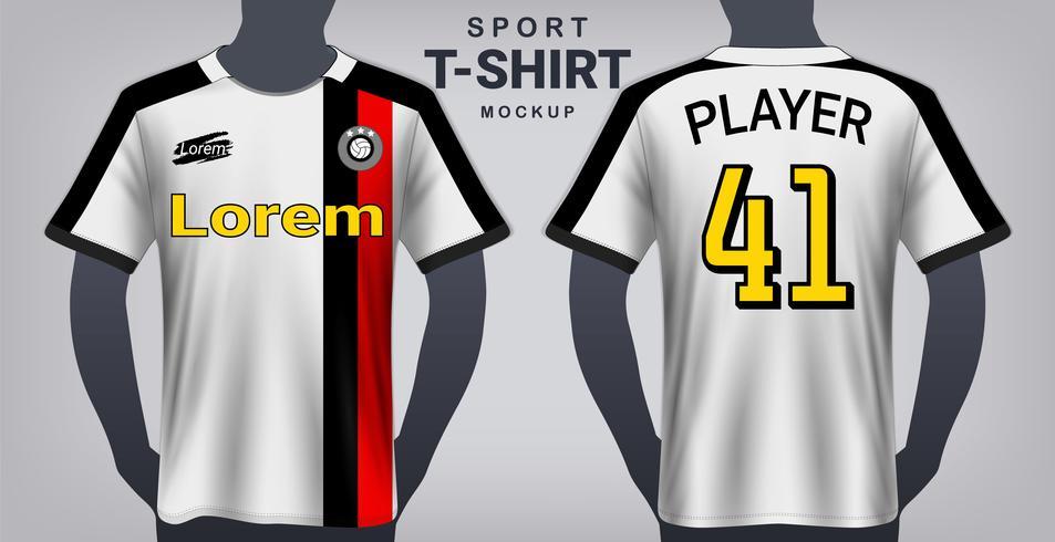 Jersey de futebol e modelo de maquete de t-shirt do esporte, Design gráfico realista frente e vista traseira para uniformes de jogo de futebol. vetor