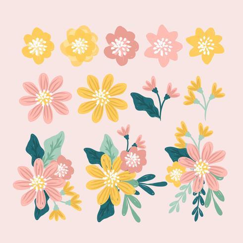 Vector mão desenhada elementos florais