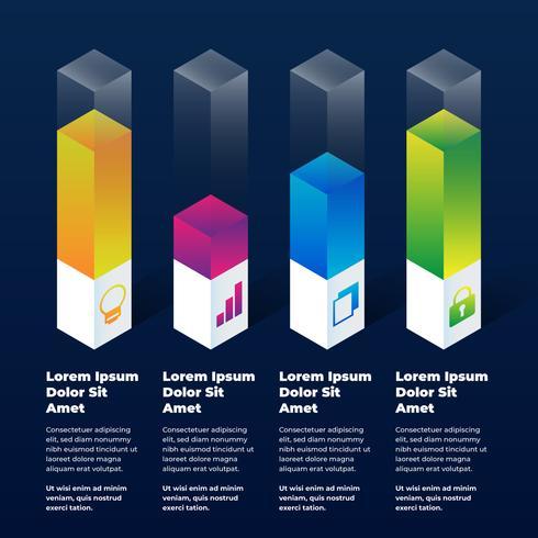 Elementos de infográfico 3D vetor