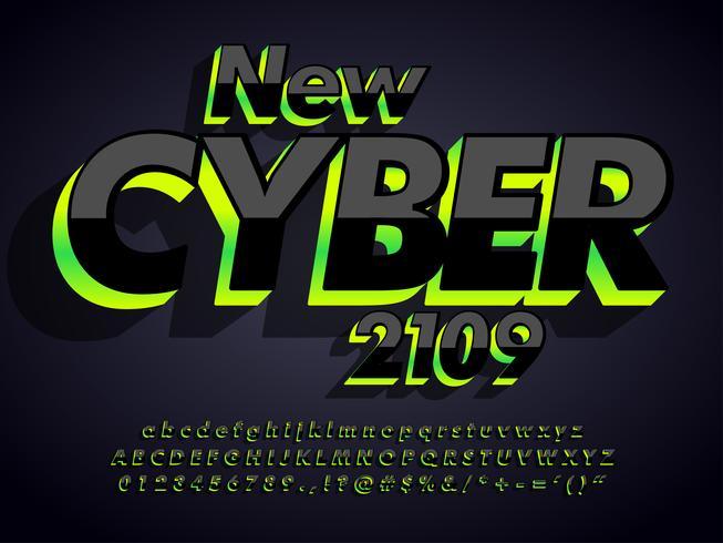 Typeface escuro moderno do Cyber vetor