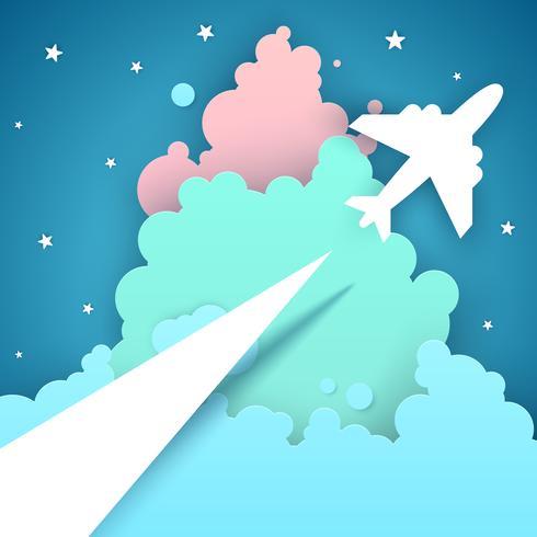 Viagem aérea de papel estilo origami vetor