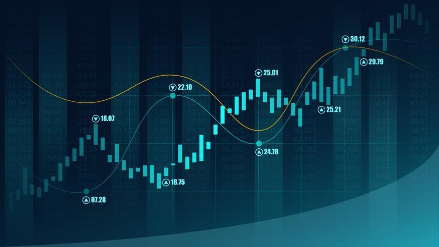 Mercado de ações ou forex trading gráfico no conceito gráfico vetor