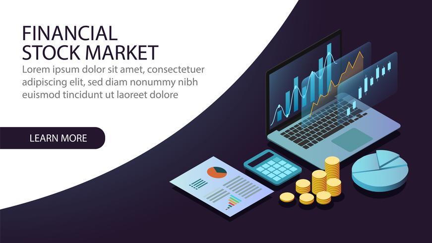 Conceito de mercado financeiro de ações isométrica vetor