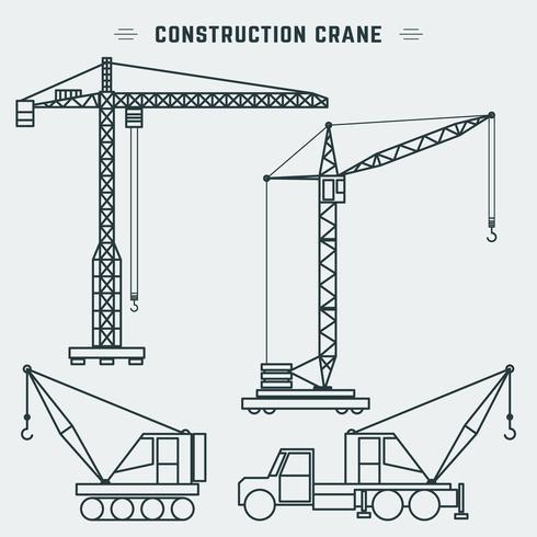 Guindaste de construção de projeto de linha vetor