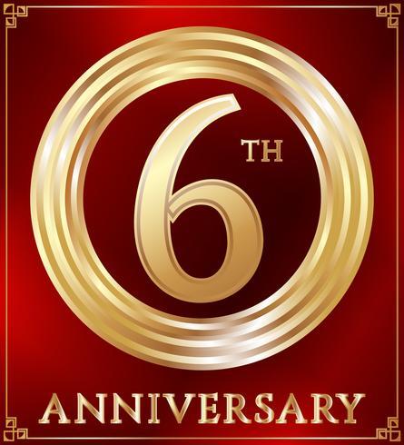 Ouro anel de aniversário vetor