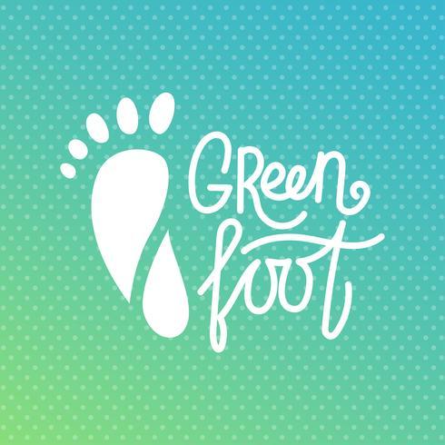 Pé verde. Logotipo do centro de saúde, salão ortopédico eco. vetor