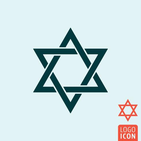 Estrela de David ícone isolado vetor