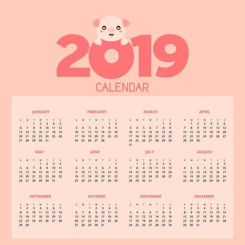 Calendário 2019 com porcos bonitos. vetor