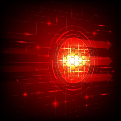 Conceito de tecnologia digital de fundo abstrato de cor vermelha, ilustração vetorial vetor